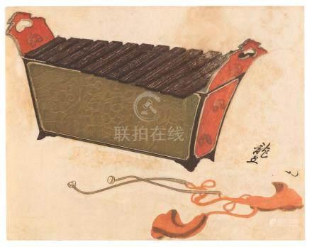 JAPANESE WOODBLOCK PRINT Depicting a sheng (xylophone).