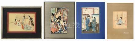 FOUR JAPANESE WOODBLOCK PRINTS 1) Chikanobu, oban yoko-e. Th