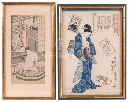 "TWO JAPANESE WOODBLOCK PRINTS 1) ""Hyakuninbutsujinjo"" (Mothe"
