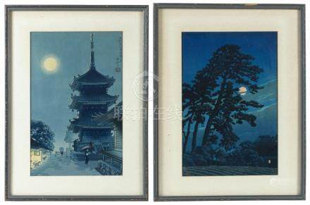 TWO JAPANESE WOODBLOCK PRINTS Depicting full-moon night scen