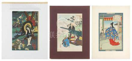 THREE JAPANESE WOODBLOCK PRINTS 1) Actor print by Yoshifuji