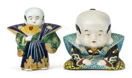 TWO JAPANESE KUTANI PORCELAIN FIGURES Depicting Fukusukesan.