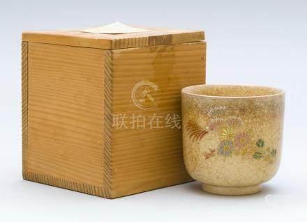 JAPANESE MASATARU KEIWA SATSUMA POTTERY CUP In cylinder form