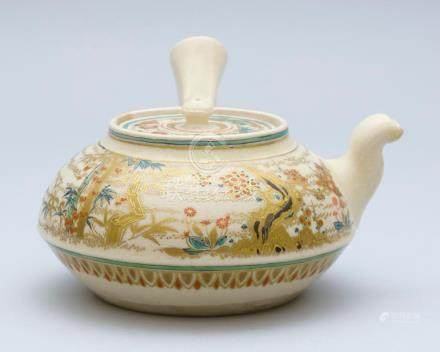 JAPANESE SATSUMA POTTERY TEAPOT In squat ovoid form with sid