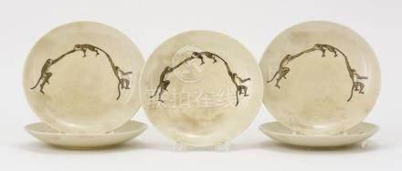 SET OF FIVE JAPANESE SATSUMA POTTERY PLATES In Three Monkey
