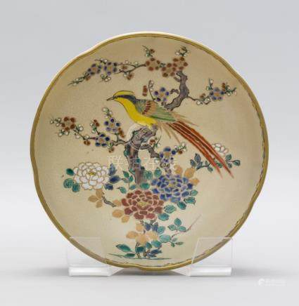 JAPANESE GYOZAN SATSUMA POTTERY BOWL In cherry blossom form