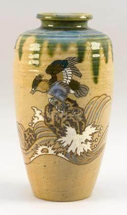 JAPANESE ENAMELED SETO WARE POTTERY VASE In Oribe style. Wit
