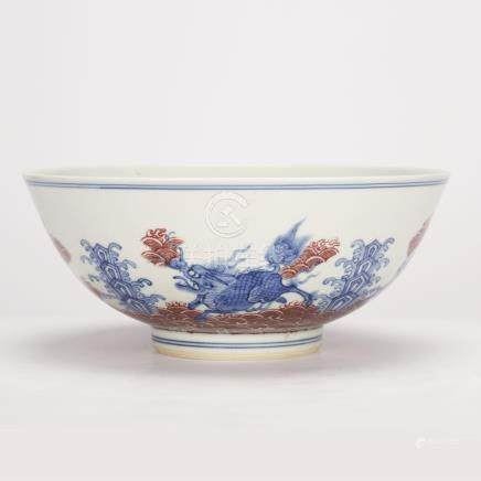 Red Bowl Inside Blue and White Glaze in Qing Dynasty