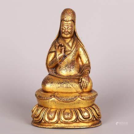 Qing Dynasty  CopperGold plating Buddha