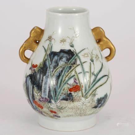 Qing Dynasty  Pastel Binaural Bottle