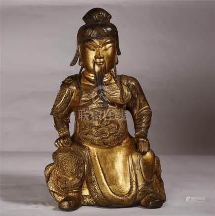 Chinese Qing Dynasty  GILT BRONZE GUAN YU Statue