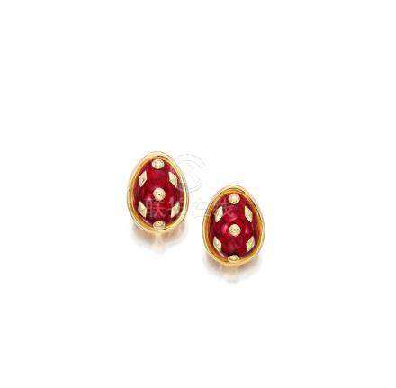 """A pair of 18k gold and enamel """"Dot Lozenge"""" earclips, Jean Schlumberger for Tiffany & Co."""