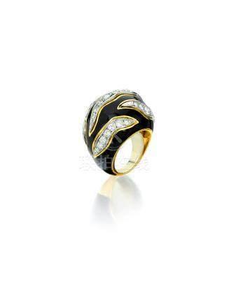 A diamond and enamel ring, David Webb