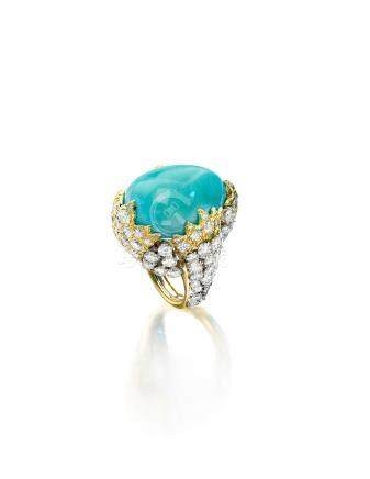 A turquoise and diamond ring, David Webb