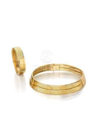 "A collar and bracelet ""Tubogas"" set, Bulgari"
