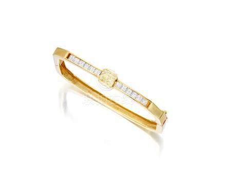 An 18k gold, Fancy colored diamond and diamond bracelet