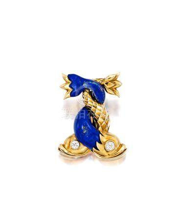 """A lapis and diamond """"Dauphin"""" brooch, René Boivin, French,"""