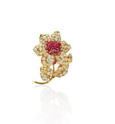 A diamond and ruby brooch, René Boivin, French,