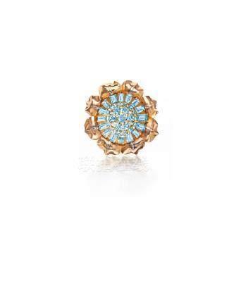 An aquamarine and diamond brooch, Boucheron, Paris,