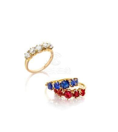 A trio of spinel, sapphire and diamond rings
