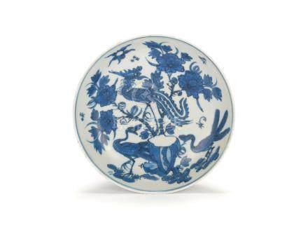A blue and white 'phoenix' dish Tian lu fugui jia qi six-character mark, Wanli