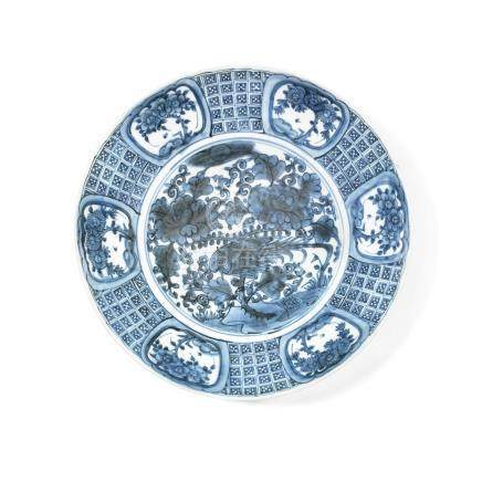 A large 'Swatow' blue and white charger 16th/17th century