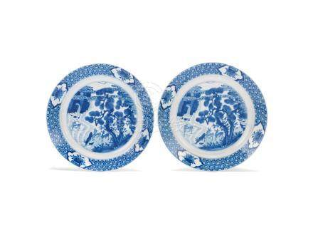 A pair of blue and white 'deer' dishes Kangxi six-character marks and of the period (2)