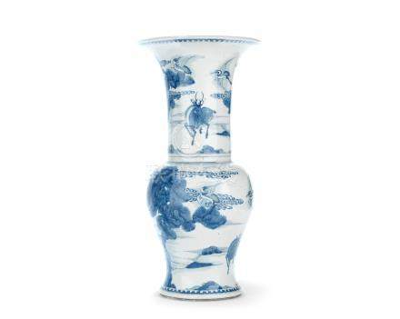 A blue and white 'crane and deer' baluster vase, yenyen Kangxi
