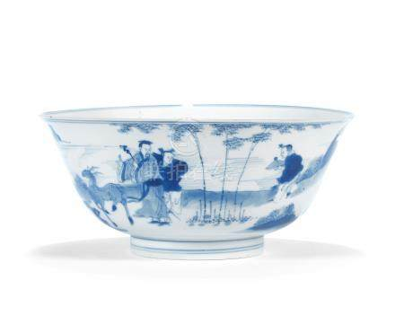 A blue and white 'scholar sage' bowl Chenghua six-character mark, Kangxi