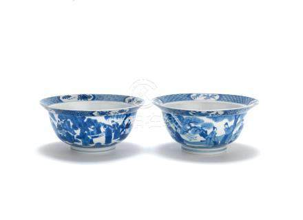 Two blue and white 'klapmuts' bowls Kangxi six-character mark and of the period and Chenghua six-character mark, Kangxi (2)