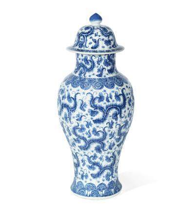 A blue and white moulded baluster vase and cover  Kangxi (2)