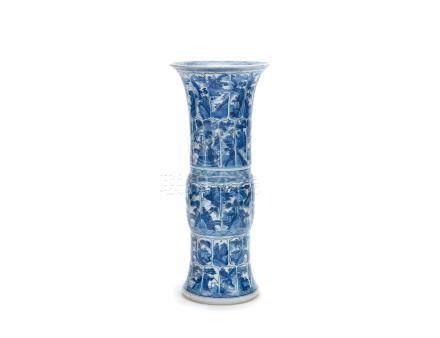 A blue and white beaker vase, gu  Kangxi
