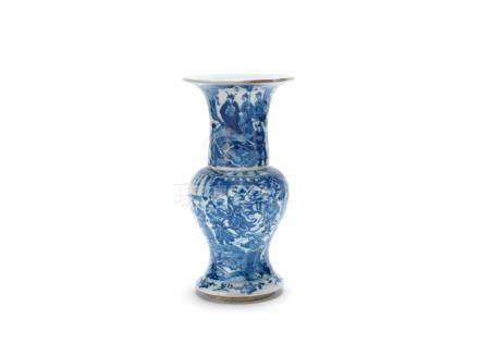 A blue and white 'warriors' baluster vase Kangxi