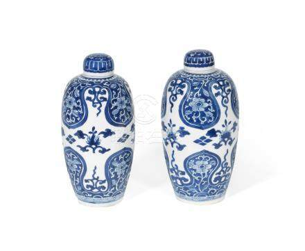 A pair of blue and white oviform jars and covers Kangxi (4)