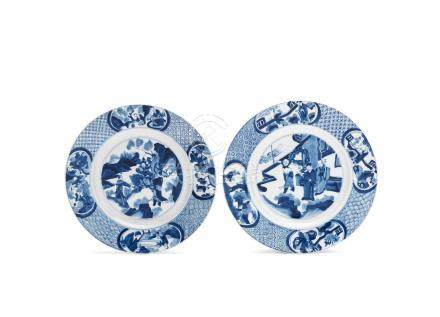 A pair of blue and white 'Outlaws of the Marsh' dishes Kangxi six-character marks and of the period (2)