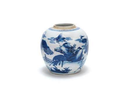 A blue and white 'deer' jar  Kangxi