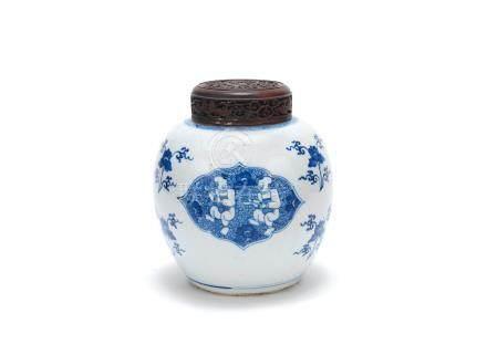 A blue and white 'boys' jar Kangxi  (2)