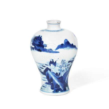 A blue and white 'river landscape' baluster vase Kangxi