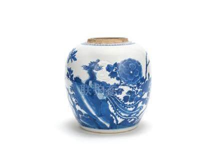 A blue and white 'phoenix' jar Kangxi