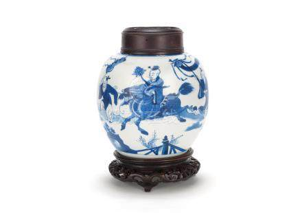 A blue and white 'ginger' jar Kangxi  (3)