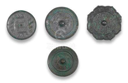 A group of four archaic bronze mirrors Warring States Period/Tang Dynasty  (8)