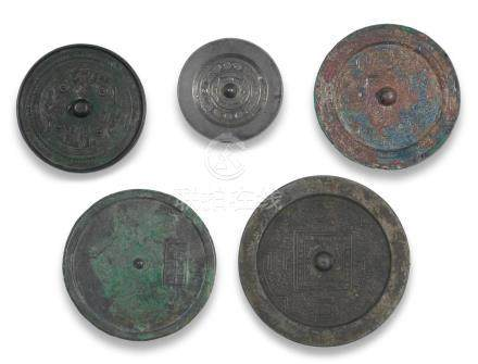 A group of five bronze mirrors  Han Dynasty and later (9)