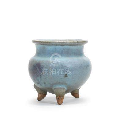 A Junyao purple-splashed tripod incense burner Yuan Dynasty