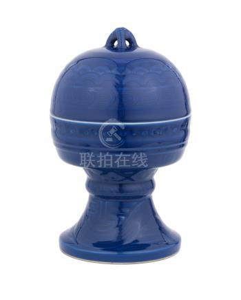 A blue-glazed altar vessel and cover, Dou Impressed Jiaqing seal marks and of the period (2)