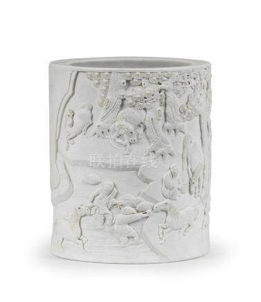 A very rare carved biscuit porcelain 'Eight Horses of Muwang' brushpot, bitong   Signed Liang , 19th century (2)