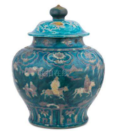 A rare and large 'fahua' 'Bajixiang and dignitaries' jar and cover, guan First half of the 16th century (2)