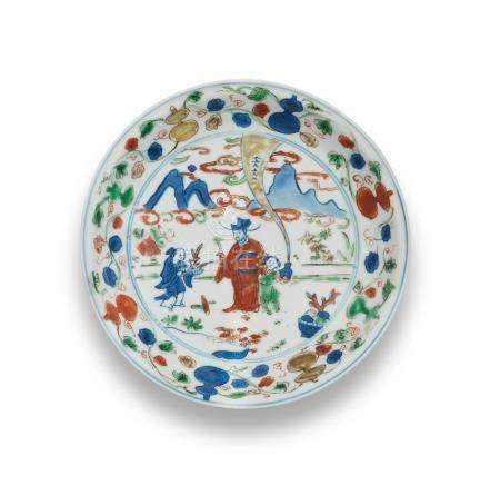 A wucai 'Immortal' dish Wanli six-character mark and of the period