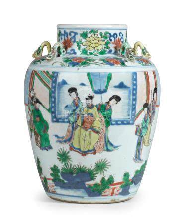 A rare wucai 'Palace ladies' jar Shunzhi/Early Kangxi