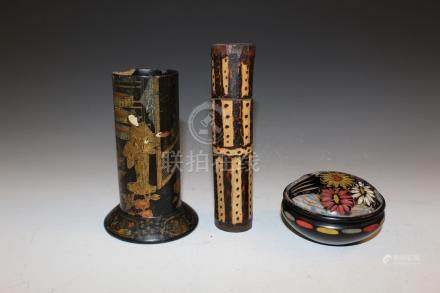 Three Japanese lacquer items.