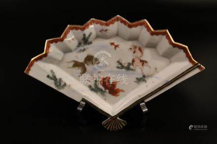 Chinese porcelain fan-shaped dish.